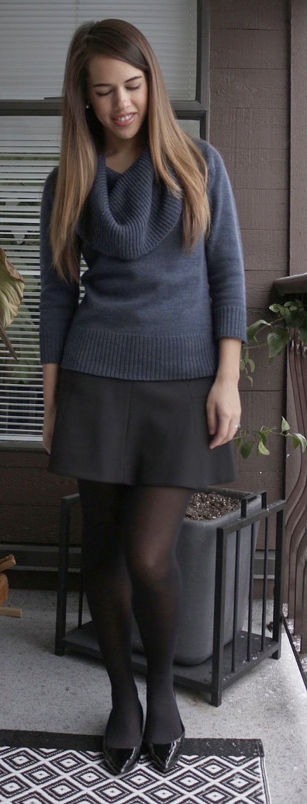 Jules in Flats - Joe Fresh Sweater, J.Crew Skirt