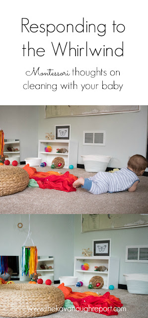 Babies can be like a whirlwind of destruction, pulling apart everything in their path. Here are some Montessori thoughts on cleaning up with your baby and setting routines to promote order in the future.