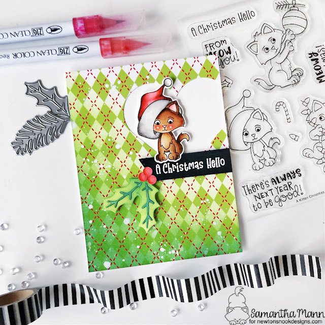 Christmas Kitty Card by Samantha Mann | A Kitten Christmas Stamp Set, Meowy Christmas Paper Pad and Pines & Holly Die Set by Newton's Nook Designs #newtonsnook #handmade