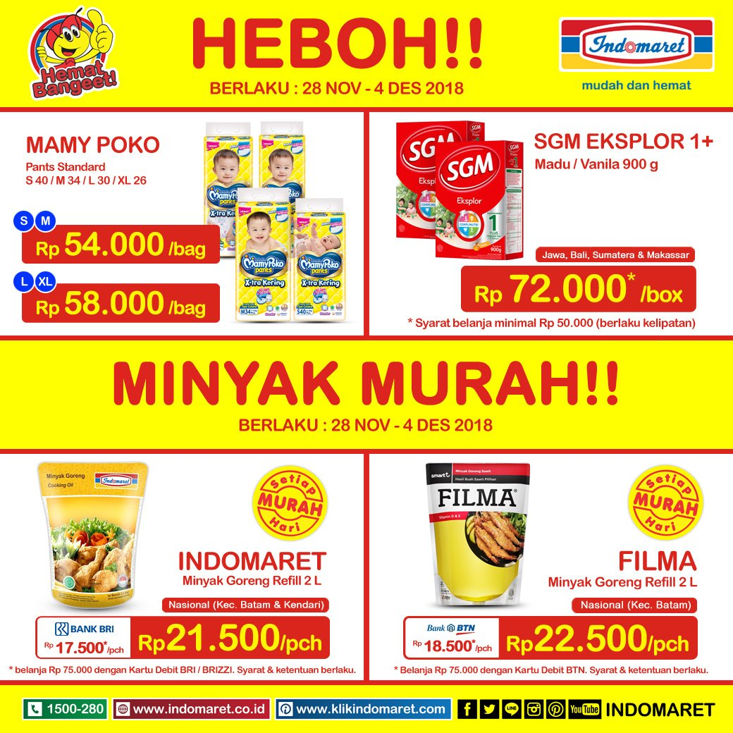 Indomaret - Promo Harga Heboh Periode 28 - 4 Desember 2018