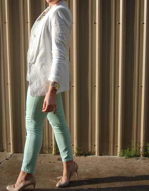 J.Crew gilded jacquard top, Zara blazer, Mint Forever 21 jeans, Expressions pumps, Chanel caviar wallet