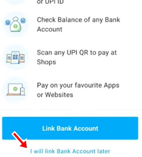 i will link bank account later par click kare