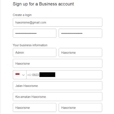 Formulir Data Pendaftaran Paypal