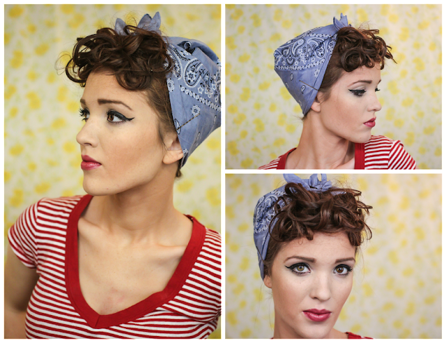 rosie the riveter hair style the freckled fox sweetheart hair week tutorial 6 2061 | Retro vintage rockabilly pin up hair style tutorial 40s 50s bandanna curls rosie the riveter christina agulera candyman curls 7