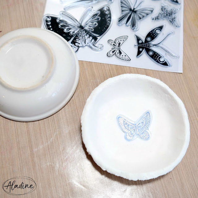 Air Dry Clay Trinket Dish with Stamped Butterfly Center