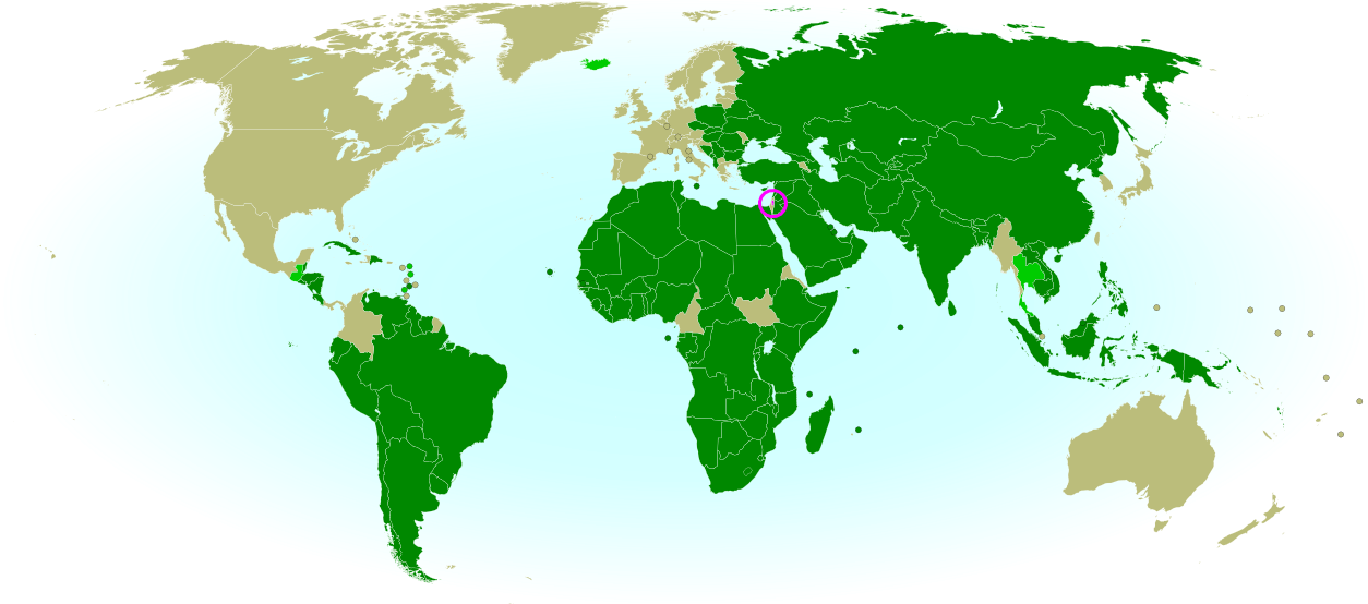 Map of countries that recognize the State of Palestine as an independent country, updated for May 2013 with most recent additions highlighted