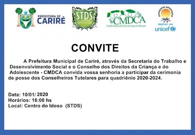 Dia 10 de janeiro, às 16h, será realizada a cerimônia de posse dos Conselheiros Tutelares de Cariré para quadriênio 2020-2024