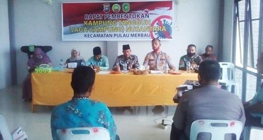 Camat Pulau Merbau, Rapat Pembentukan Kampung Tangguh (Jaga Kampung) Nusantara Bersama Kapolsek Tebing Tinggi Barat dan Danramil