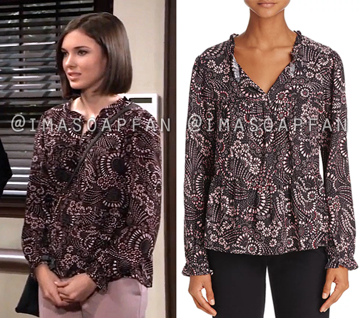 Willow Tait, Kately MacMullen, Black and Pink Floral Print Top, General Hospital, GH