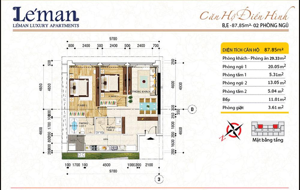 Mặt bằng căn hộ Leman C T Plaza 2 phòng ngủ | DT: 87.85m2