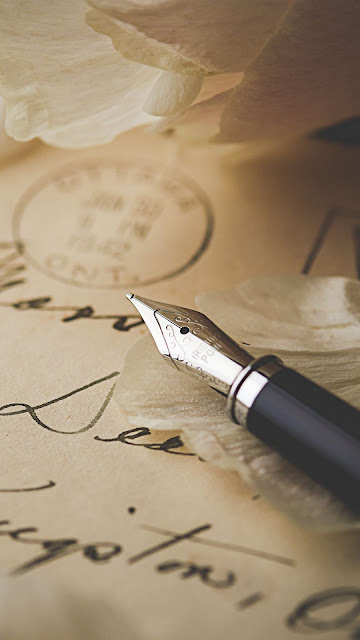 Pen, letter, petals, envelope, vintage