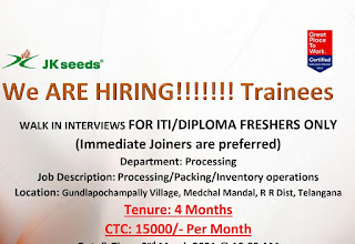 JK Agri Genetics Ltd Hiring ITI / Diploma Fresher Walk In Interviews For Trainees Position