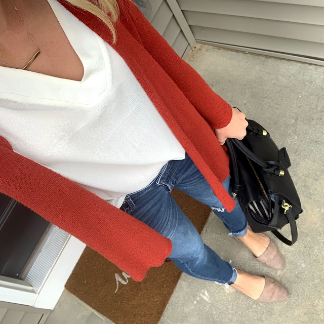 Early fall outfit   Rust cardigan