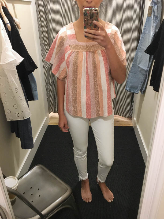 cute pink stripe top and white jeans