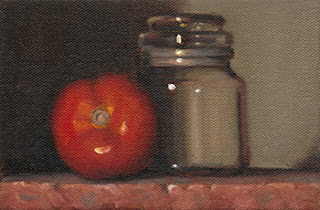 Still life oil painting of a red tomato beside a small glass jar.