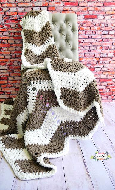 Ripple afghan Throw Crochet pattern