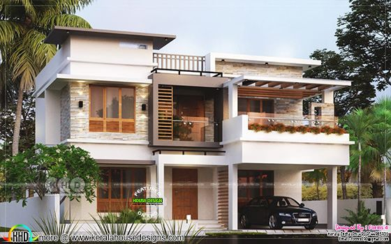 4 BHK modern contemporary flat roof home