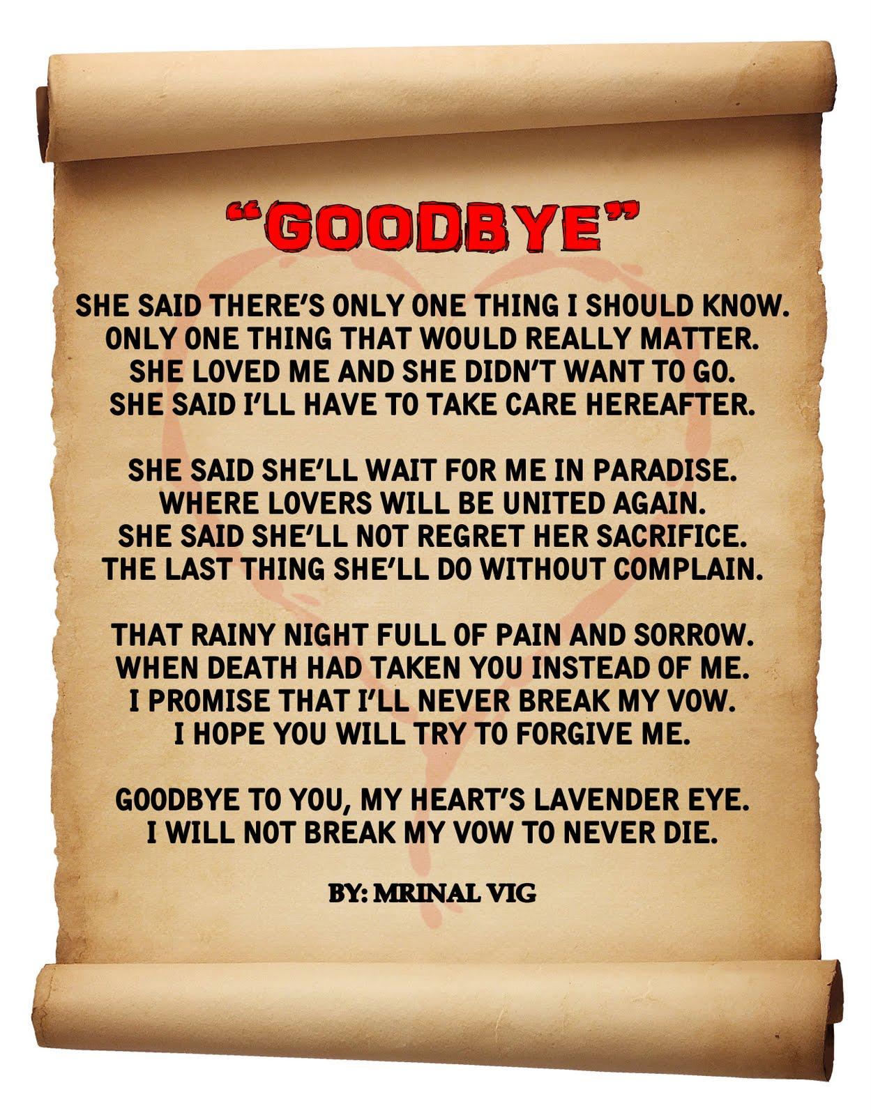Mkov Goodbye A Poem I Wrote