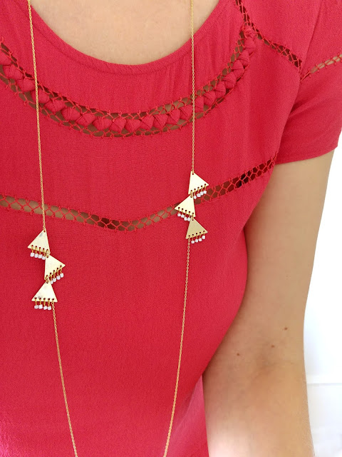 long necklace, triangle, graphic, white