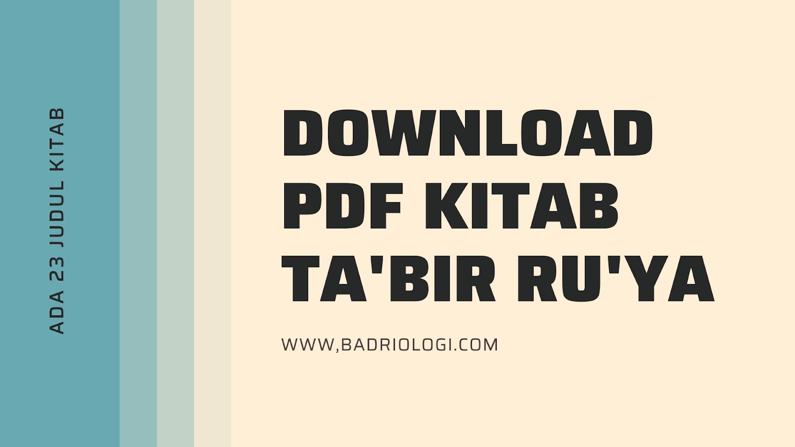 download pdf kitab ta'birur ru'ya ibnu sirin