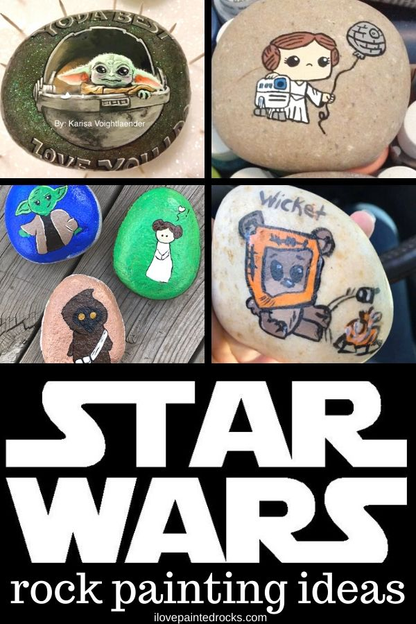 The best Star Wars inspired rock painting ideas including the child baby yoda, princess leia, R2D2, droids, wookies, jawas, darth vader and more! #rockpainting #stonepainting #paintedrocks
