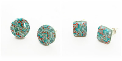 Turquoise Stud Earrings handmade using my polymer clay kaleidoscope cane