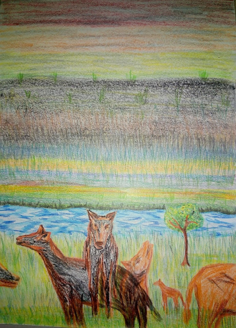 Grass Forrest animals pencil drawing image