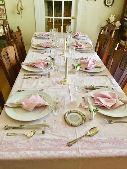 My extra long French Le Jacquard damask tablecloth with napkins work fine  with the additional small oak table added on in the back MARIETTE S BACK TO BASICS  Table Setting With Picture Frame Vases  . French Fine Dining Table Set Up. Home Design Ideas