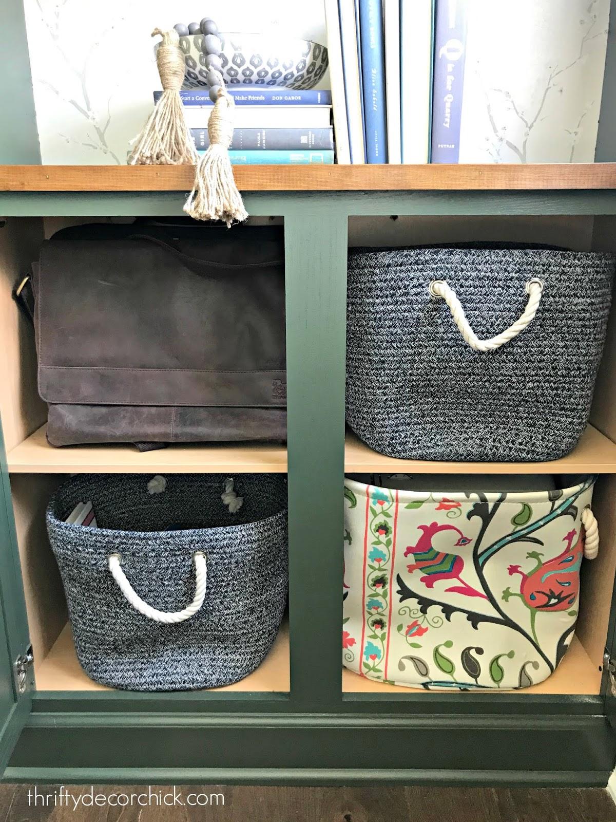 craft stuff storage in bookcases