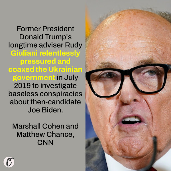 Former President Donald Trump's longtime adviser Rudy Giuliani relentlessly pressured and coaxed the Ukrainian government in July 2019 to investigate baseless conspiracies about then-candidate Joe Biden. — Marshall Cohen and Matthew Chance, CNN