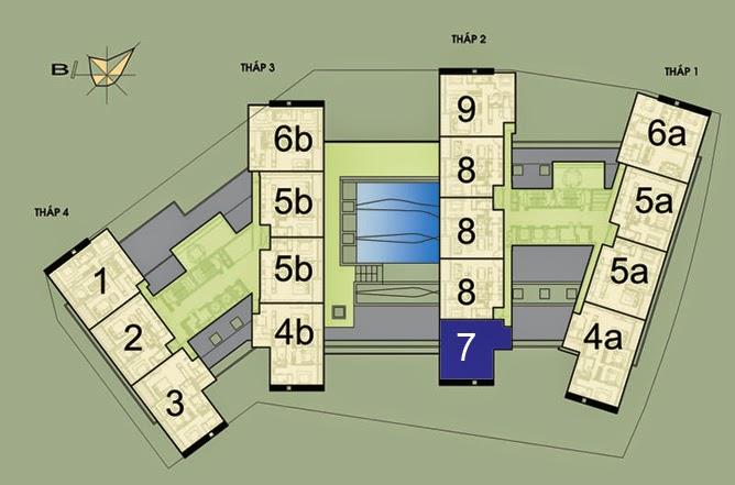 Vị trí căn hộ CH7- 138m2 trên mặt bằng căn hộ Dolphin Plaza