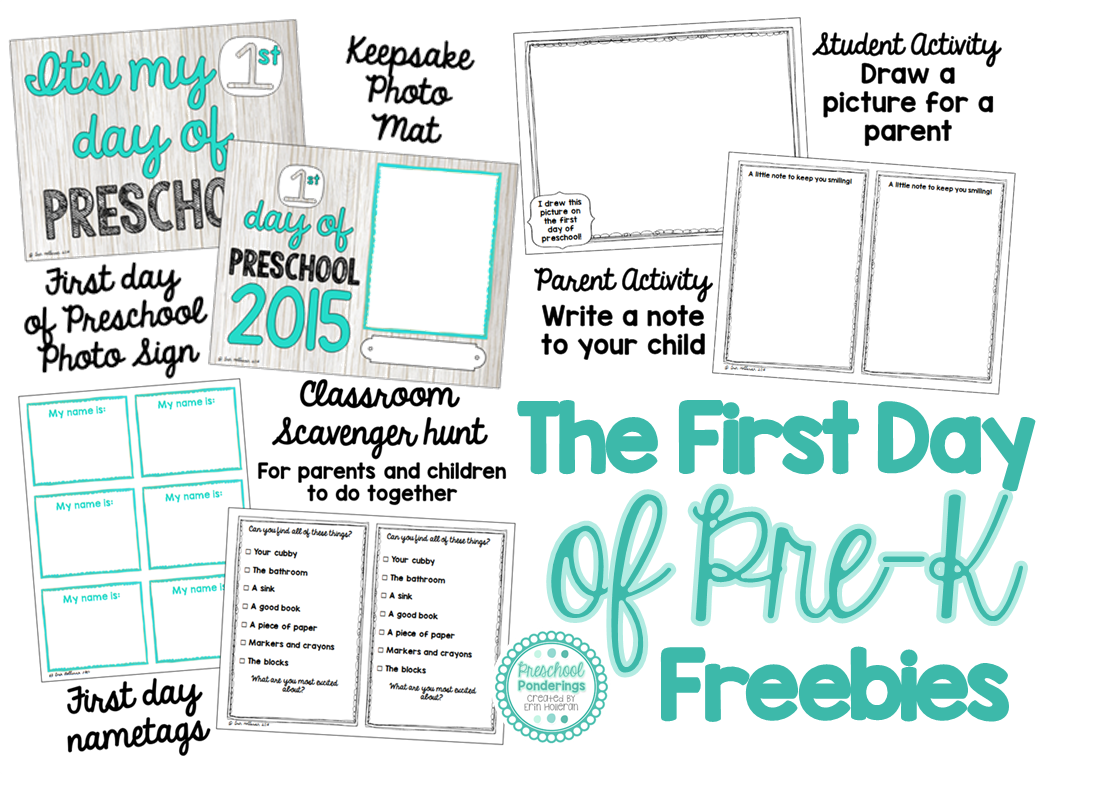 Preschool Ponderings First Day Of Preschool Freebie