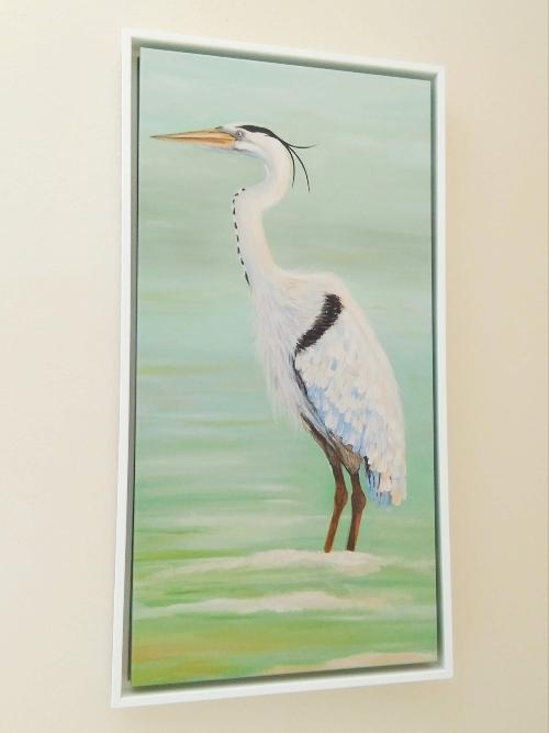 Heron Canvas Art Framed Wood Frame Idea
