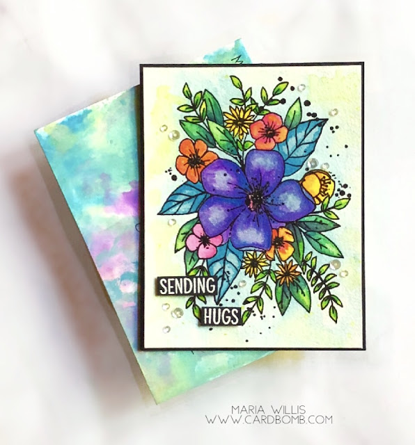 #cardbomb, #mariawillis, #card, #concord&9th, #flower, #watercolor, #distressinks, #distressoxides, #timholtz, #stamp, #ink, #paper, #papercraft, #papercrafting, #cardmaking, #handmade, #diy, #craft, #create, #art,
