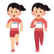 正面から見た走る女性のイラスト(ゼッケン付き)