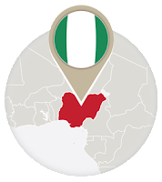 Nigerian flag and map