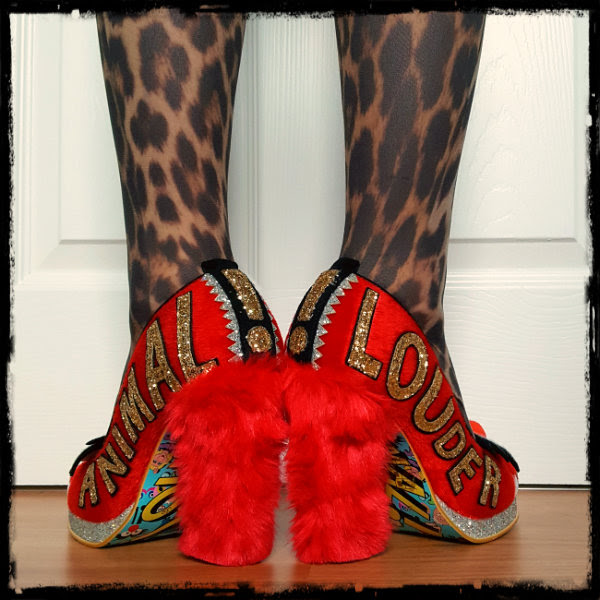 back view wearing Irregular Choice Muppets shoes  showing Animal louder gold glitter applique sides