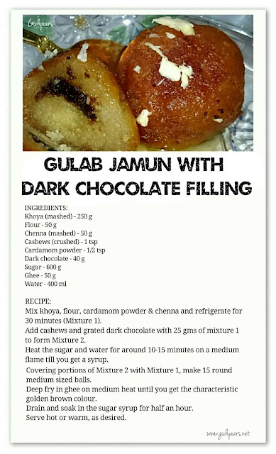 Recipe - Gulab Jamun with Dark Chocolate Filling