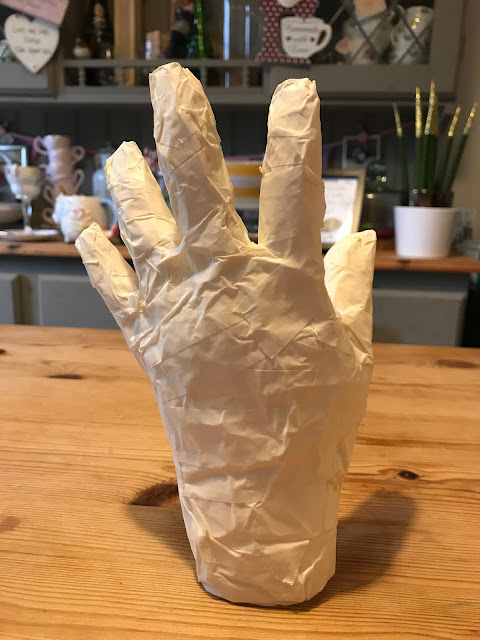 step by step masking tape mummy hand DIY Halloween crafts