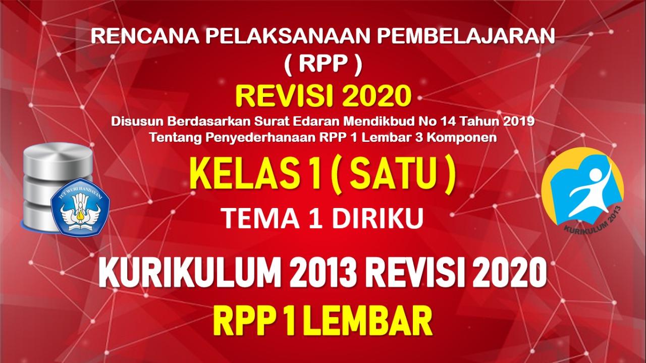 Rpp 1 Lembar Kelas 1 Tema 1 Sd Mi Kurikulum 2013 Revisi 2020 Tahun Pelajaran 2020 2021 Datadikdasmen