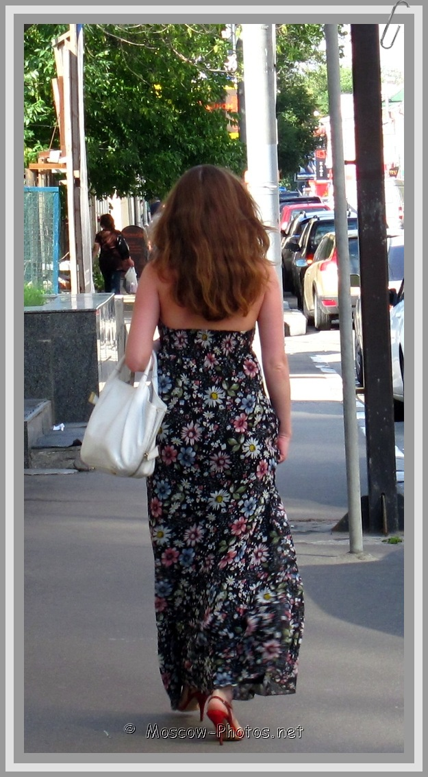 Lady In Long Summer Floral Dress
