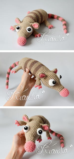 Krawka: Pinky the Rat with a pink nose, crochet pattern by Krawka cute rodent rat opposum mouse monster pattern