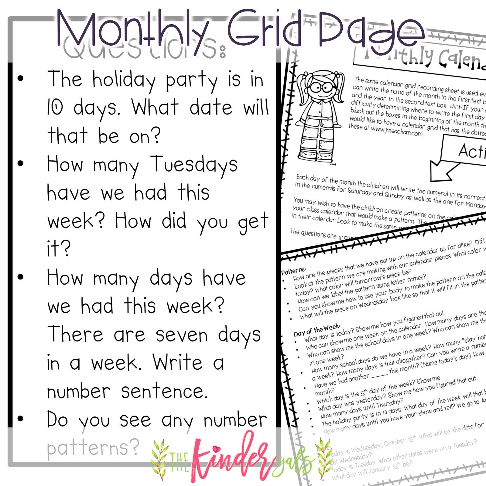 KinderGals: Morning Circle Time-Calendar