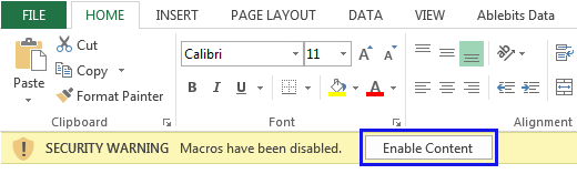 enable macro ms. excel