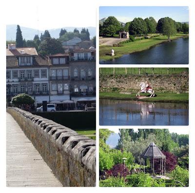 ponte medieval, rio lima, estátua de soldado romano, coreto, jardim
