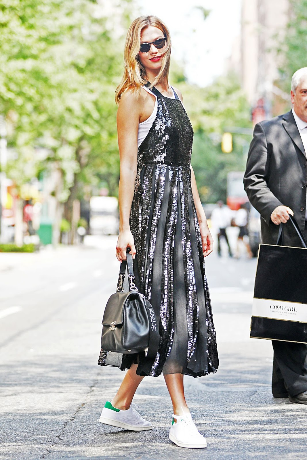 Karlie Kloss Wears Silver Sequins Out in NYC