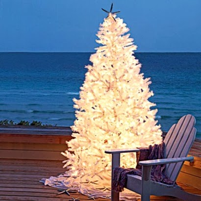 white Christmas tree outdoors