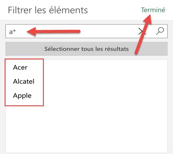 Filtrer les noms commençant par une lettre - Excel Android