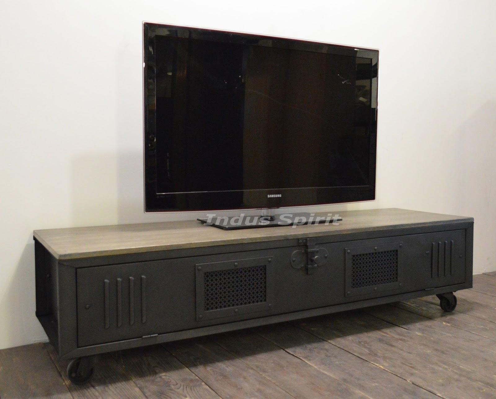 meuble tv loft bois et m tal. Black Bedroom Furniture Sets. Home Design Ideas