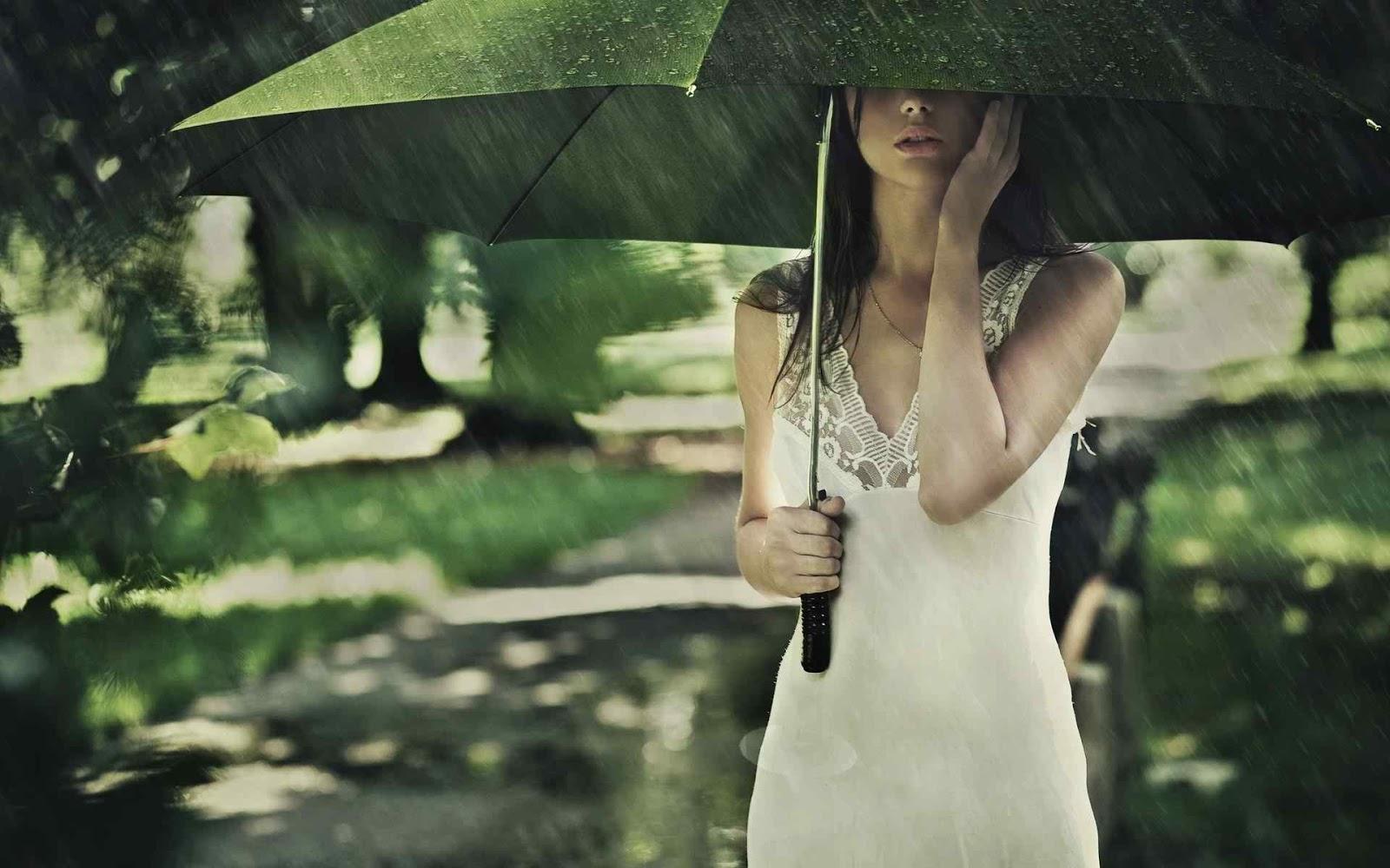 girl on rain facebook profile picture